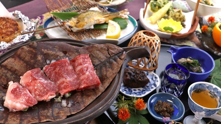 【お食事一例】山形牛の朴葉焼きに、旬を味わう地産地消の創作和食をどうぞ♪