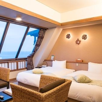 海が見えるツインルーム「アジアンテイスト」禁煙