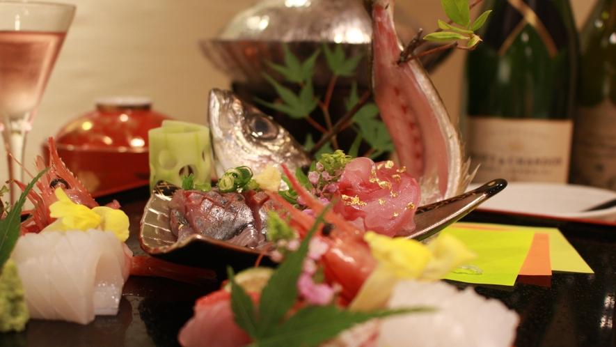 【夕食】刺身盛り合わせ
