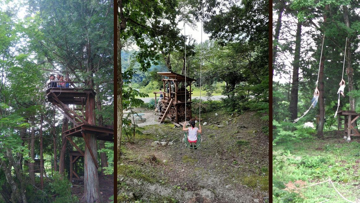 ワクワク感満載のツリーハウスやブランコなど手作りアスレチックが人気♪