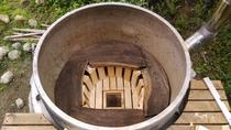 薪で沸かすダイナミックなゴエモン風呂は浅間山の溶岩石が入っていて温泉効果抜群!