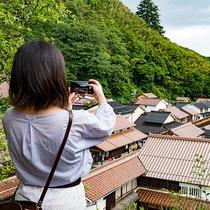 *【観世音寺からの景色】大森の町を見下ろせる撮影スポット!赤い瓦屋根もよく見えます。