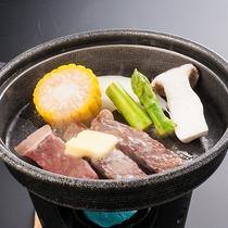 ◆夕食【県産牛の陶板焼き】