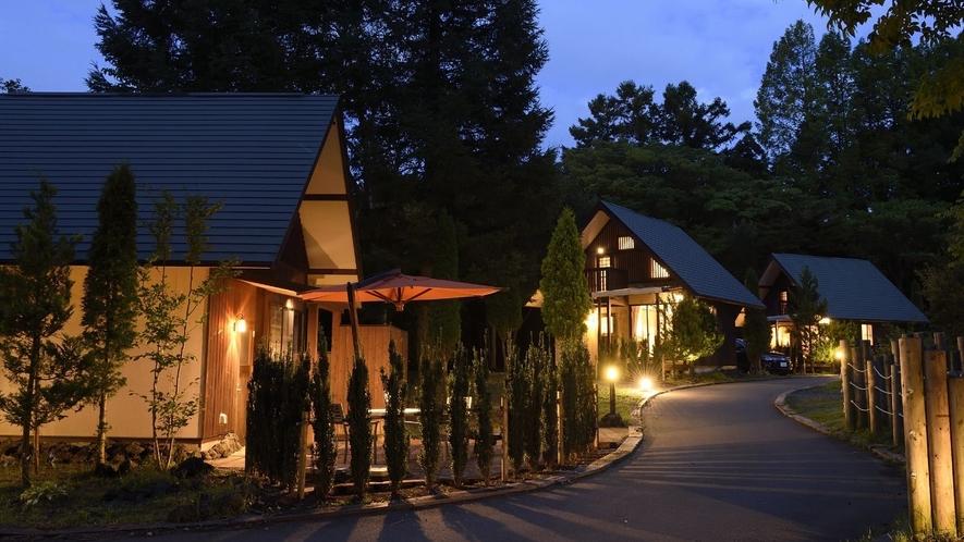 PICA山中湖 コテージエリア夜
