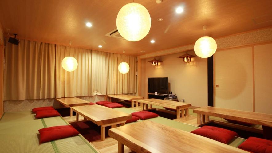 ご宿泊のお客様専用のお食事処兼宴会場 床暖房完備で冬でも暖か♪