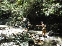 滝つぼまで川の中をトレッキング