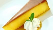 本日のデザートは片品村産かぼちゃのプリンケーキ