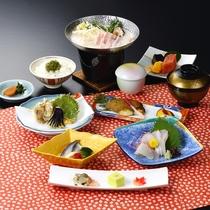 石見の旬の食材を中心とした当館オリジナルの会席料理<みはらしコース一例>2019