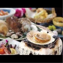 【海鮮炭火焼】帆立・サザエ・海老など海の幸盛りだくさん!