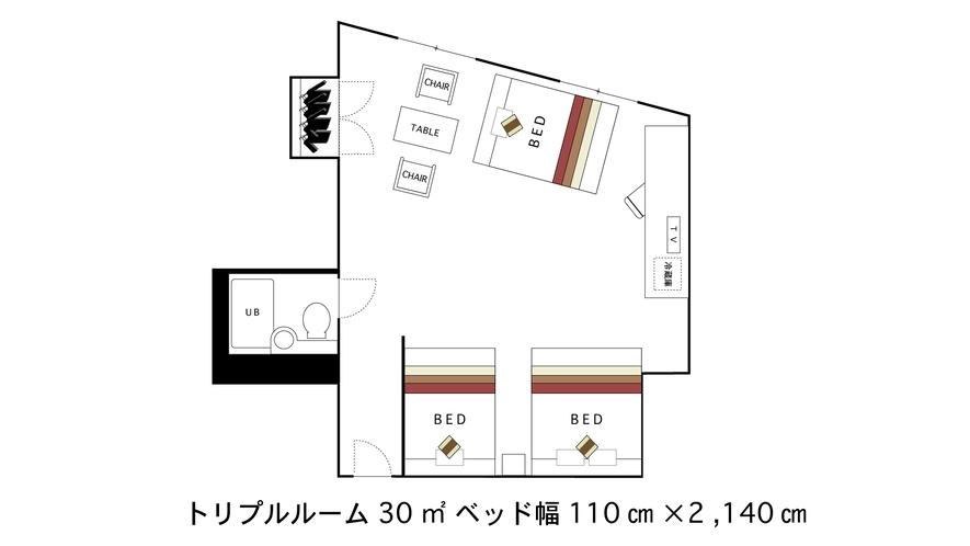 トリプルベッドルーム 間取り図