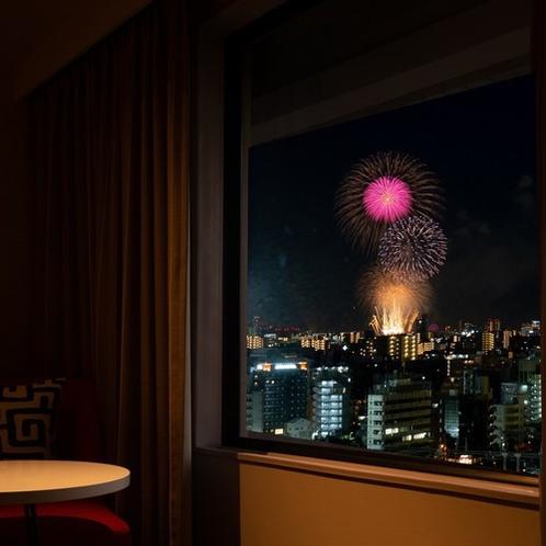 昨年のホテル客室からの様子