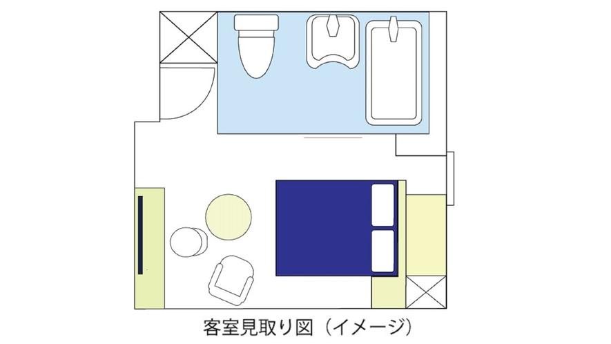 ユニバーサル(24㎡、ベッド幅160cm)見取り図
