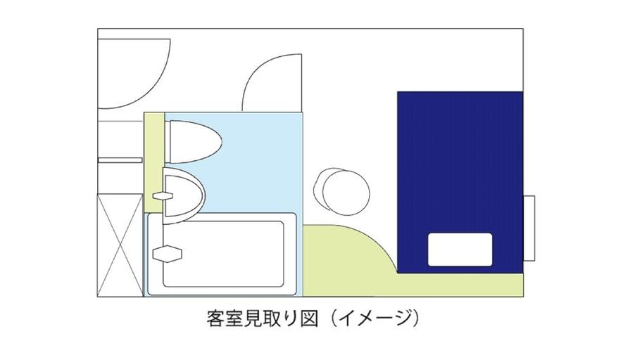 スタンダードルームB(13㎡、ベッド幅140cm)見取り図