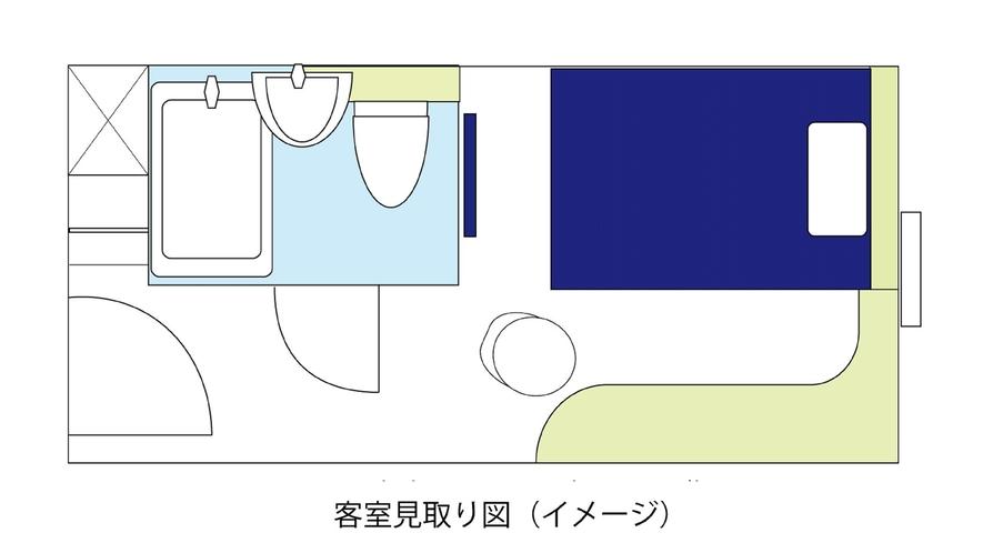 スタンダードルームA(13㎡、ベッド幅140cm)見取り図