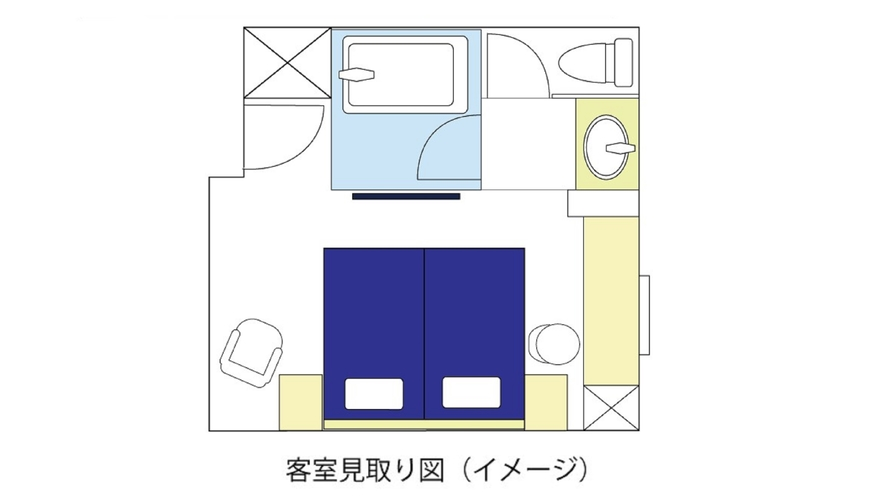 ツインルーム(24㎡、ベッド幅120cm)見取り図