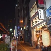 ホテル前夜の風景