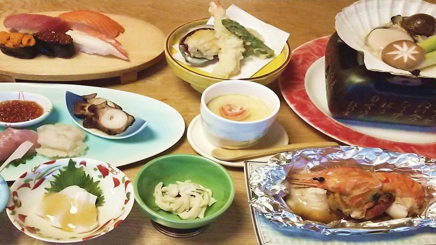*秋期の海鮮フルコース一例/新鮮な海鮮を堪能していただけます。