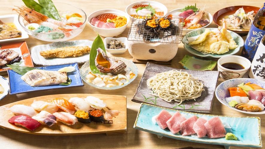 *海鮮フルコースイメージ画像(アワビ・ウニ・寿司・天ぷら等、全10品をご用意いたします。)  *浜料