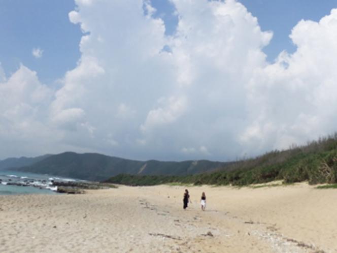 ビラビーチ(当館から歩いて5分)。白い砂浜と青い海。