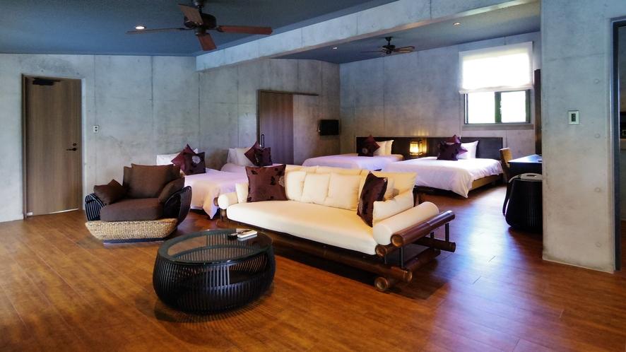 1bedroom(ダブルベッド2台×シングルベッド2台)