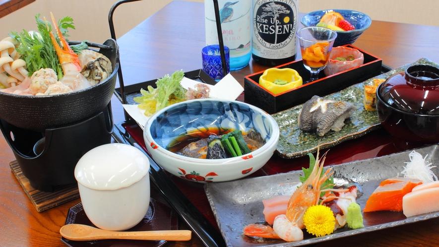 *夕食一例 新鮮な三陸の魚介を扱った自慢の料理理
