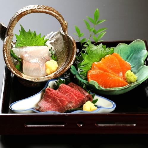 ■【華会席■特別会席】お造り一例。馬刺し、岩魚、信州サーモン