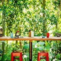 まさにジャングルに囲まれたカフェ