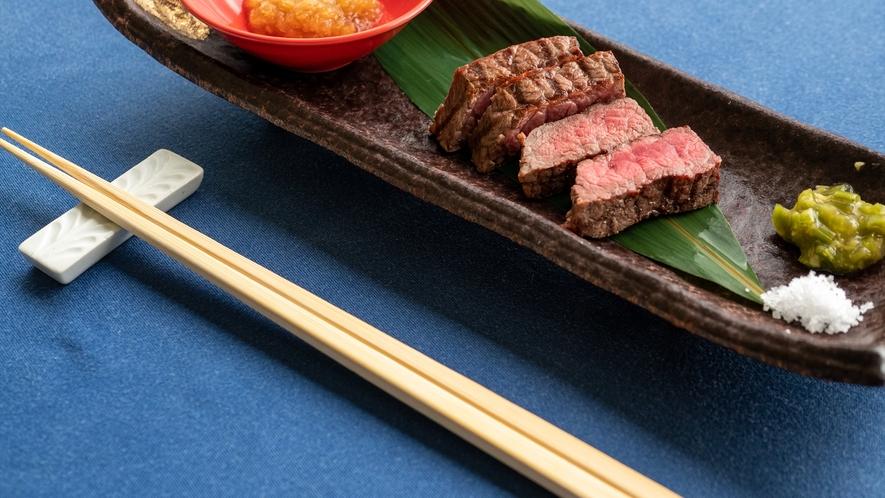 鹿児島県黒牛ランプの炭火焼き(和食コース)