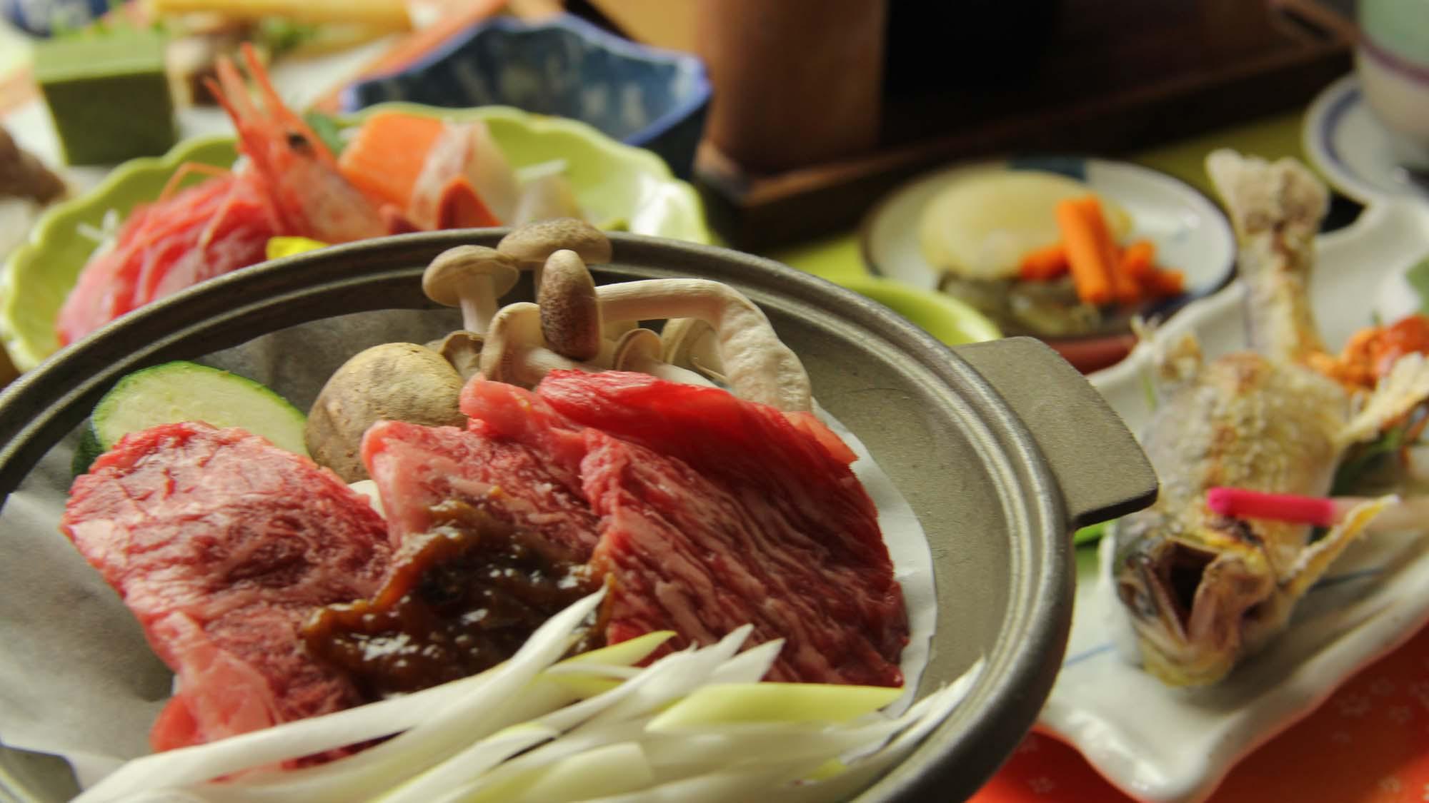 ■【お食事/夏季】〜地物満喫・釜飯コース〜山方牛を自家製味噌とともに(冬は奥久慈しゃも鍋になります)