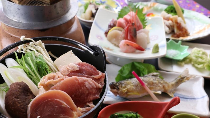 ■【お食事/冬季】~地物満喫・釜飯コース~炊き立て釜飯と奥久慈しゃも鍋付き(夏季は牛陶板になります)