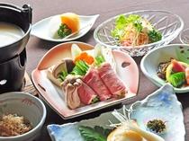 【スタンダード夕食一例】その日一番美味しい食材を毎日厳選しております。