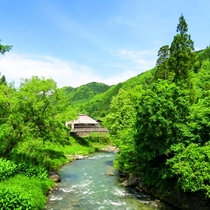 新緑と清流と大出の吊り橋。懐かしい光景に出会える春の白馬。