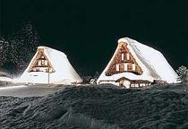 菅沼合掌造り集落のライトアップ窓あかりと雪あかり