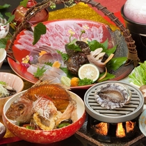 【海鮮どっさり】玄界灘の荒波で育った魚介類は、活きが良く身が締まっており食感・旨味共に絶品です。