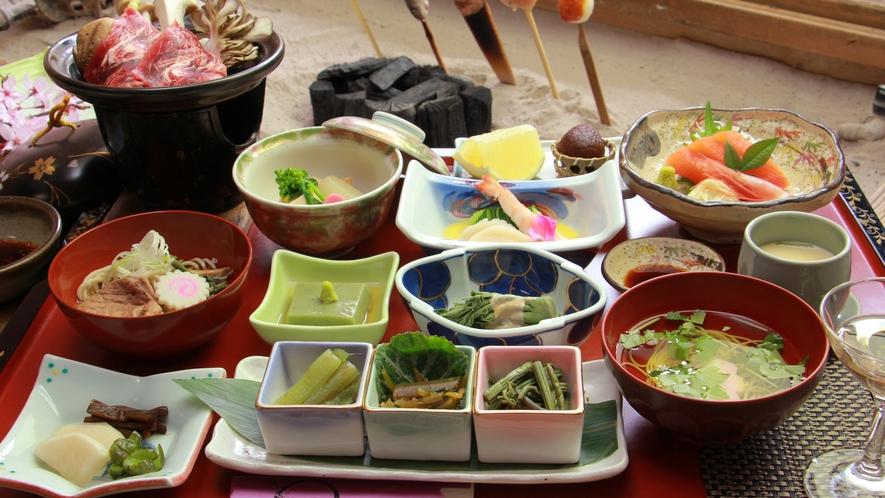 【春のご夕食一例】旬の山菜と一緒に…