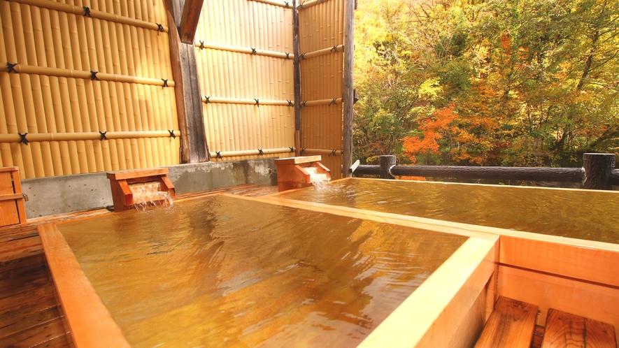 【貸切風呂・檜の湯】身体を包み込む優しい温泉の温かさ・・・