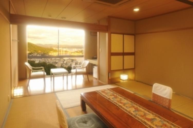 東側客室10畳和室(夕景)