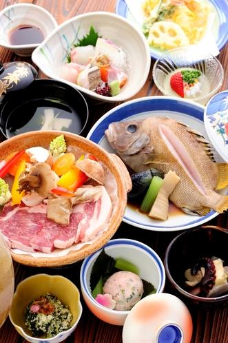 瀬戸内六穀豚の陶板焼付会席
