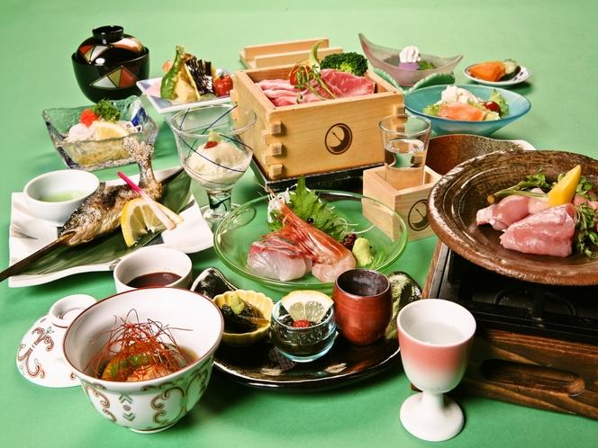 日本酒蒸篭蒸しと地鶏陶板焼き会席 一例