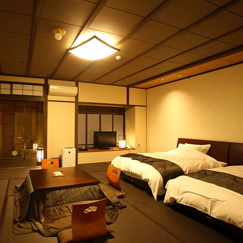 壱の棟・源泉かけ流し露天風呂付和室モダンルーム60平米(ツインベット)