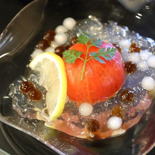 (初夏)水菓子 トマトワイン煮 ブラックタピオカ