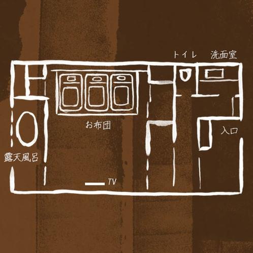 2016年12月新装 NEW・弐の棟・源泉かけ流し展望露天風呂付和室モダンルーム47平米 間取り