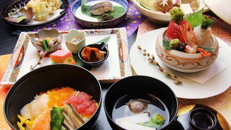 ■期間限定-雛膳 お祝い雛膳のはちらし寿司とハマグリのお吸い物付