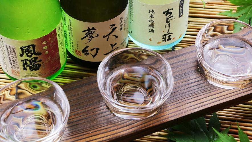 ■日本酒 純米吟醸酒「ちどり荘」をはじめ、オススメの地酒を飲み比べできます。