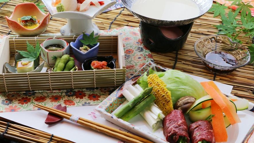 ■期間限定-女子旅 夏ver 仙台牛の豆乳しゃぶしゃぶとフレッシュ夏野菜の鮮やかなコース