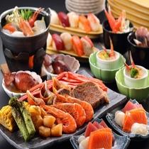 【夕食ビュッフェ】こだわり食材が並ぶビュッフェ