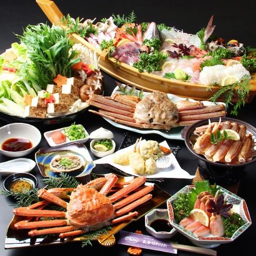 【舟盛り付きカニコース】鮮魚もカニも思う存分食べて欲しい!冬の日本海を丸ごとどうぞ♪