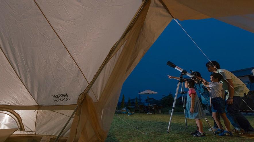 ・敷地内にテントも張れます。いい思い出になりますよ
