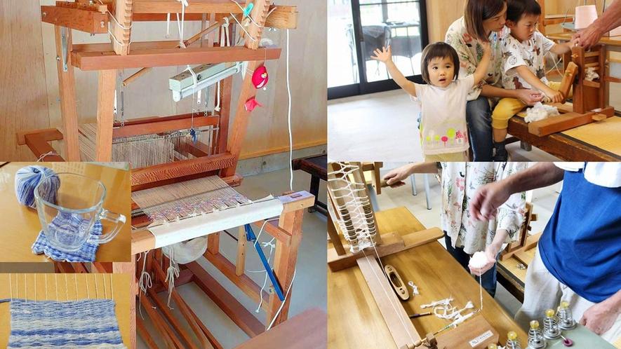 ・昔ながらの織機を使った織物体験!ダンボールの簡単織機でコースター作りもできます