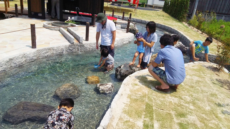 ・暑い季節には冷たい湧き水の池で水あそび♪
